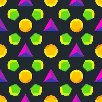 Verschiedene platonische feststoffe violett grün orange gelb farben nahtlosen muster schwarzen hintergrund