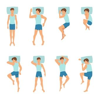 Verschiedene positionen des schlafenden mannes.