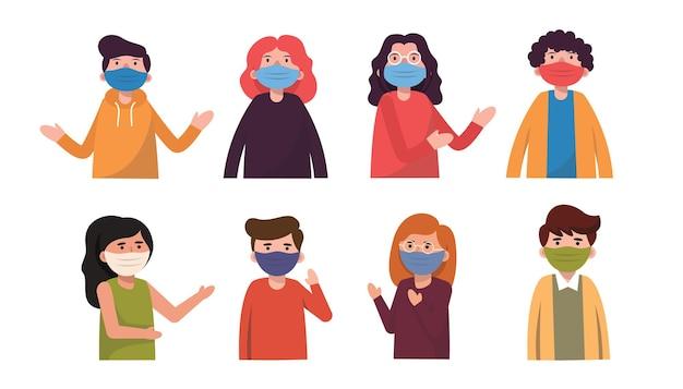 Verschiedene rassen, sowohl männer als auch frauen, achten darauf, covid-19 zu verhindern, indem sie masken tragen, um ihre gesichter in der menschlichen kommunikation zu verbergen. Premium Vektoren