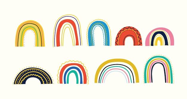 Verschiedene regenbogen kinder zeichnen verschiedene ornamente im kindischen skandinavischen stil flaches design hand ...