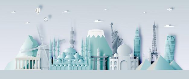 Verschiedene reiseanziehungskräfte im papierkunststil