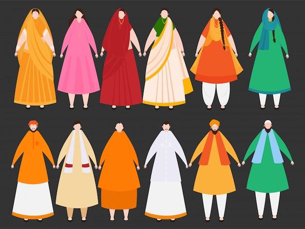 Verschiedene religionsleute, die einheit in der verschiedenartigkeit von indien zeigen