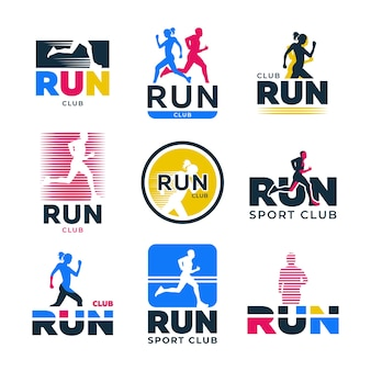 Verschiedene retro running flat logo set. bunte schattenbilder der läufer und athleten, die marathonvektorillustrationssammlung joggen. sportverein, aktiver lebensstil und bewegung