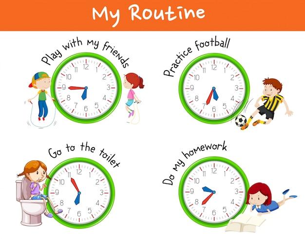 Verschiedene routinen für kinder