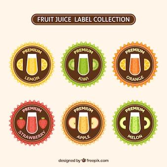 Verschiedene runde etiketten von fruchtsäften