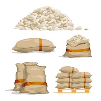 Verschiedene säcke mit weißem reis. lebensmittel lagerung vektor illustrationen