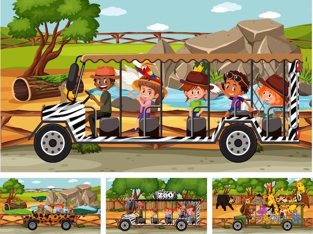 Verschiedene safariszenen mit tieren und kinderzeichentrickfiguren
