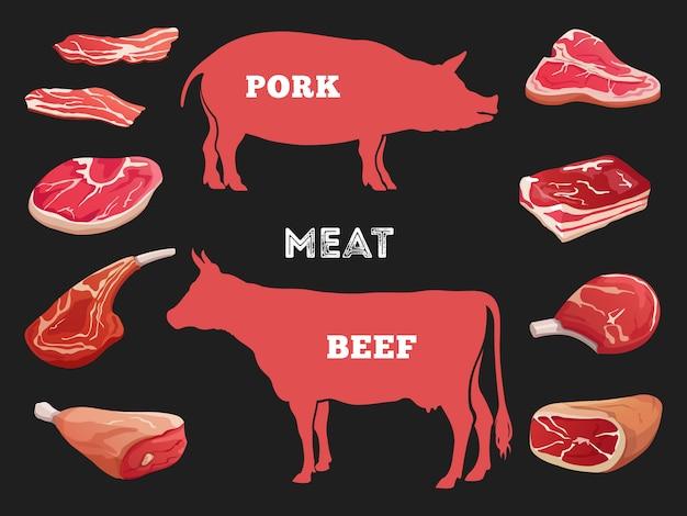 Verschiedene schnitte der kuh- und schweinefleischillustration