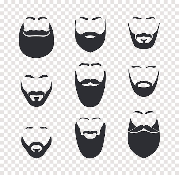 Verschiedene schnurrbart- und barthaarschnitte, männliche gesichtsbehaarung, gesichtsmasken-set. barbershop-vektor isolierte objekte auf transparentem hintergrund.