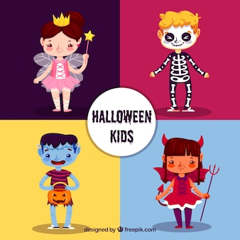 Verschiedene schöne halloween-charaktere