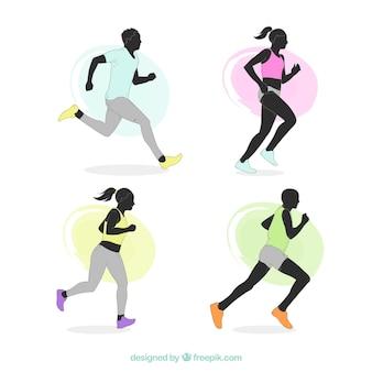 Verschiedene silhouetten von läufern