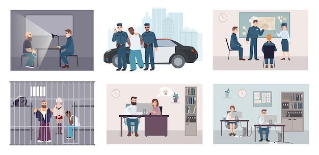 Verschiedene situationen in der polizeistation. buntes set mit polizeiarbeitsverhaftung, verhör, identikit, treffen, ermittlung. flache illustrationsvektorsammlung.