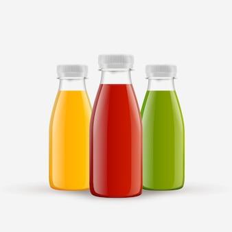Verschiedene smoothiesflaschen eingestellt