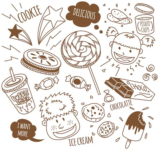 Verschiedene snacks mit glücklichen kindern im doodle-stil