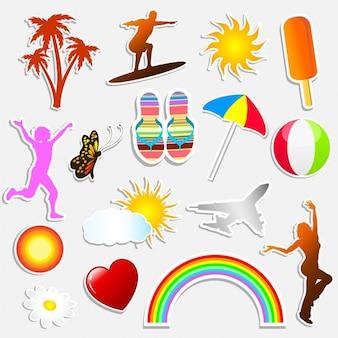 Verschiedene sommer-themen-aufkleber