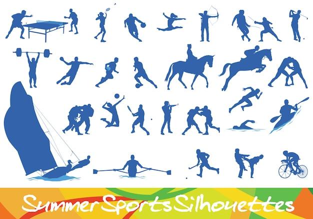 Verschiedene sommersport-silhouetten