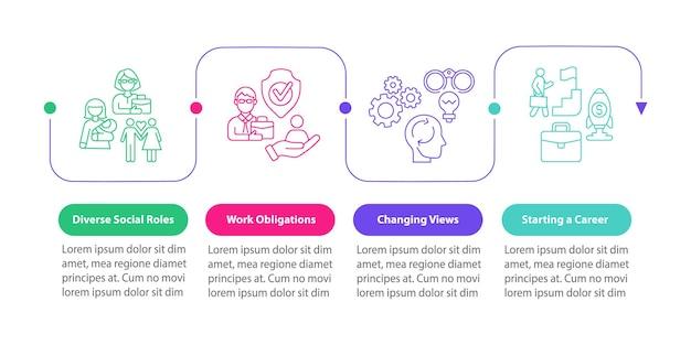 Verschiedene soziale rollen vektor-infografik-vorlage. arbeitsverpflichtungen präsentation skizzieren gestaltungselemente. datenvisualisierung mit 4 schritten. info-diagramm zur prozesszeitachse. workflow-layout mit liniensymbolen
