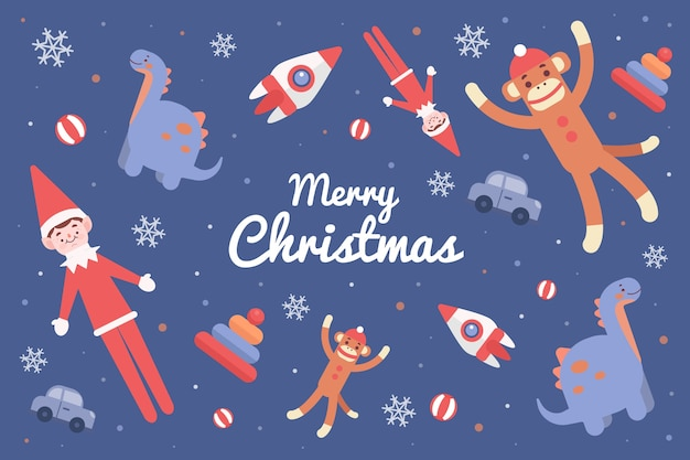 Verschiedene spielwaren und schneeflocken für weihnachtsfeiertagsillustration