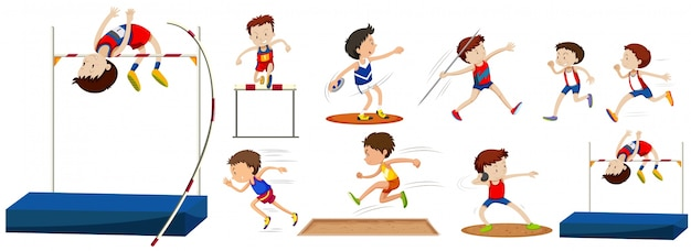 Verschiedene sportarten auf dem feld
