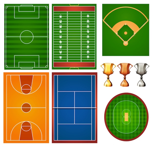 Verschiedene sportplätze und trophäe