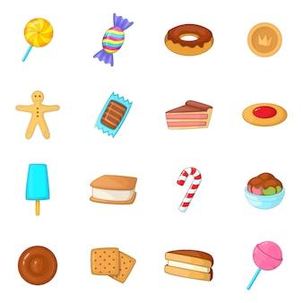 Verschiedene süßigkeitsikonen eingestellt