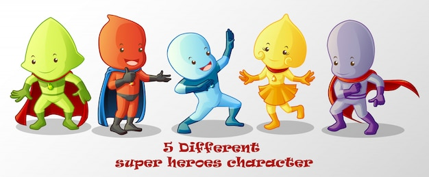 Verschiedene superhelden im cartoon-stil.