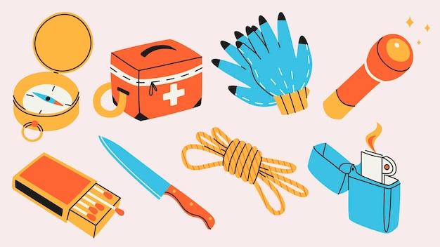 Verschiedene survival- und camping-objekte im flachen design
