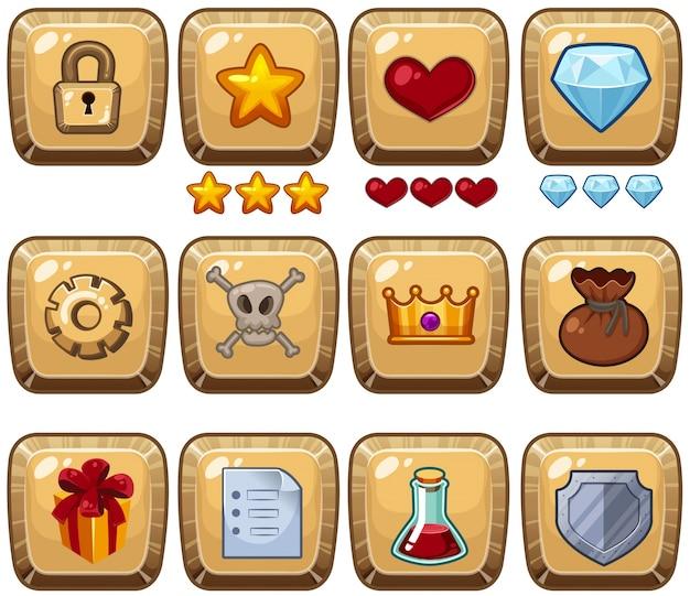 Verschiedene symbole auf quadratischen abzeichen