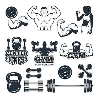 Verschiedene symbole und abzeichen für fitnessclub festgelegt
