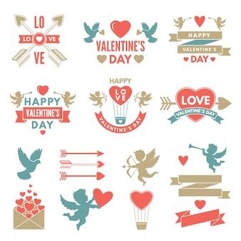 Verschiedene symbole und etiketten für den valentinstag