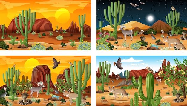 Verschiedene szenen mit wüstenwaldlandschaft mit tieren und pflanzen Kostenlosen Vektoren
