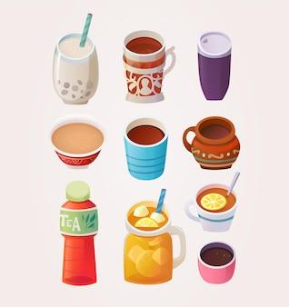 Verschiedene tassen und gläser mit tee aus verschiedenen ländern und orten
