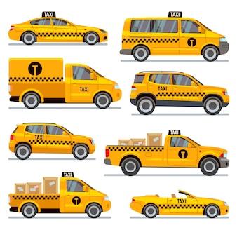 Verschiedene taxi-typen flache vektor-sammlung. automobiltaxi für passagier, illustrationsrollpickup