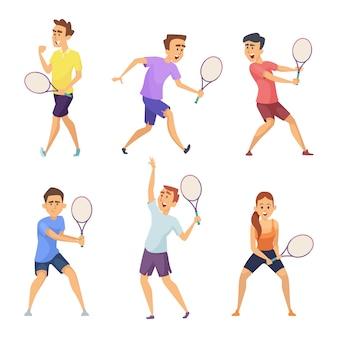 Verschiedene tennisspieler. vektorzeichen in den tätigkeitshaltungen