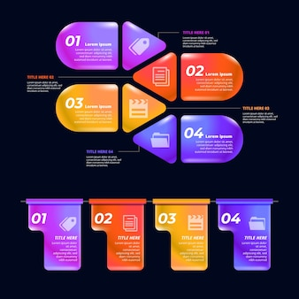 Verschiedene textfelder von glänzenden infografik-elementen