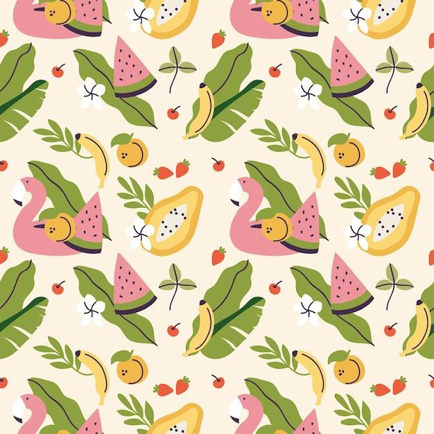 Verschiedene tropische früchte und flamingogürtel nahtloses muster