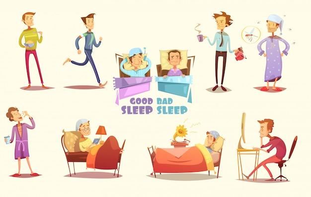 Verschiedene ursachen für guten und schlechten schlaf, flache symbole