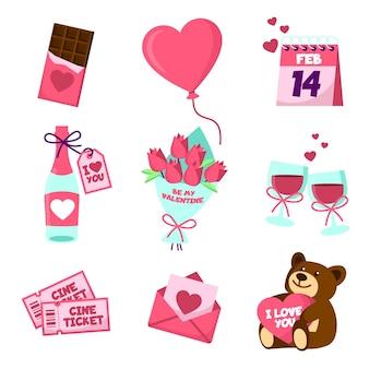 Verschiedene valentinstagelemente