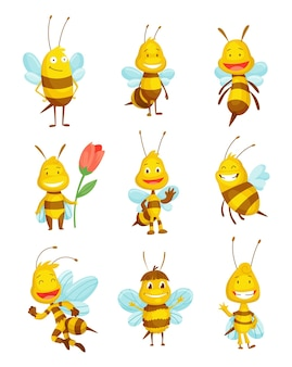 Verschiedene vartoon-bieneninsekten. charakter der glücklichen fliegenillustration. süße honigernte-figuren für kinder. smiley-tiere.