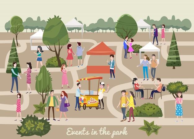 Verschiedene verschiedene leute an den parkcharakteren im urlaub