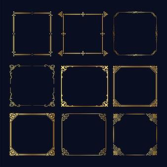 Verschiedene vintage goldene rahmen gesetzt