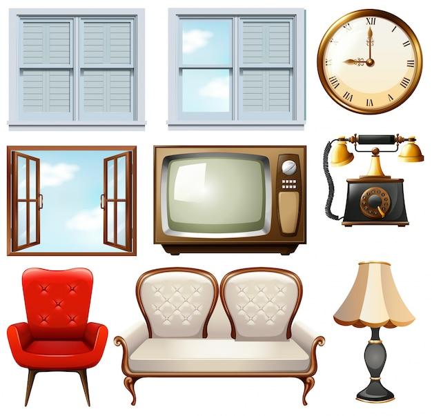 Verschiedene vintage möbel auf weiß