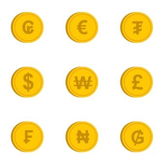 Verschiedene währungssymbole festgelegt, flache