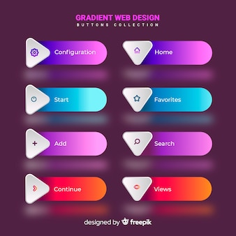 Verschiedene Web-Schaltflächen im Verlaufsstil