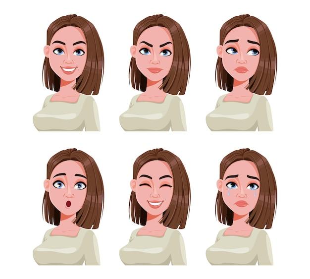 Verschiedene weibliche emotionen zeichentrickfigur