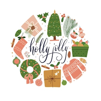 Verschiedene weihnachtselemente in einem kreisdesign mit schriftzug stechpalme jolly isolierte objekte auf...