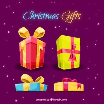 Verschiedene weihnachtsgeschenke mit bögen