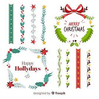 Verschiedene weihnachtsgrenzen und kranzsammlung