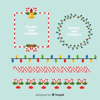 Verschiedene weihnachtsrahmen und -grenzen