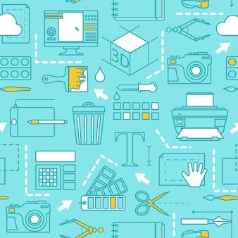 Verschiedene werkzeuge für computerdesignermuster